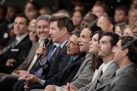 Alec Baldwin, Joe Namath, Katharine McPhee Alec Baldwin sits in the audience next to Joe Namath and Katherine Mcphee during the in augural NFL Honors show, in Indianapolis