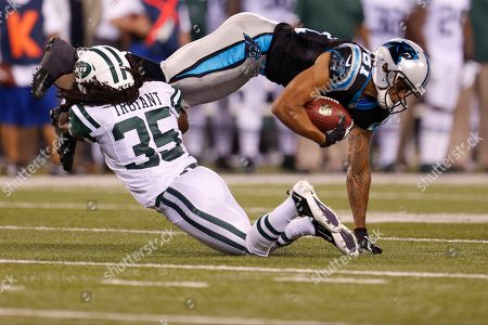 Mark Sanchez New York Jets' Isaiah Trufant tackles Carolina Panthers' Kealoha Pilares during the first half of a preseason NFL football game, in East Rutherford, N.J