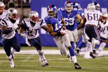 Ramses Barden, Alfonzo Dennard, Tavon Wilson New York Giants wide receiver Ramses Barden (13) runs with the ball as New England Patriots' Alfonzo Dennard (37) and Tavon Wilson (27) defend during the first half of a preseason NFL football game, in East Rutherford, N.J