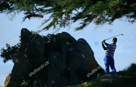Hunter Haas Hunter Haas hits from the 11th tee at Monterey Peninsula Country Club during the second round of the AT&T Pebble Beach National Pro-Am golf tournament in Pebble Beach, Calif