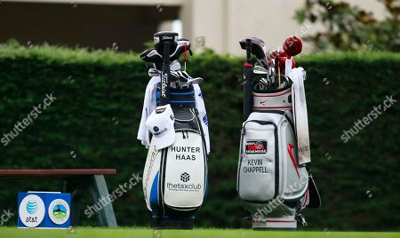 Golf bags for Hunter Haas and Kevin Chappell are shown at the first tee at Pebble Beach Golf Links during the third round of the AT&T Pebble Beach National Pro-Am golf tournament in Pebble Beach, Calif