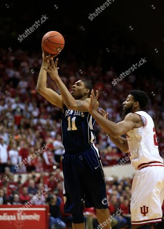 Christian Watford, Jermaine Marshall Penn State's Jermaine Marshall (11) puts up a shot against Indiana's Christian Watford during the first half of an NCAA college basketball game, in Bloomington, Ind