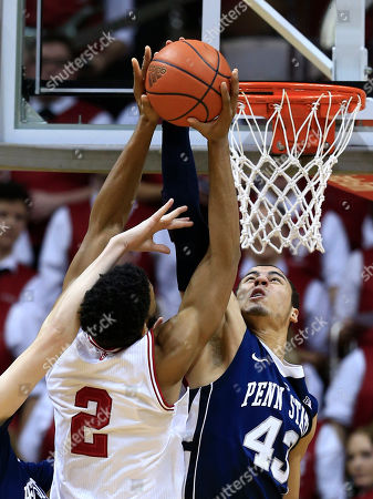 Ross Travis, Christian Watford Indiana's Christian Watford (2) has his shot blocked by Penn State's Ross Travis (43) during the first half of an NCAA college basketball game, in Bloomington, Ind
