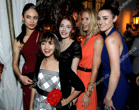 """Olga Kurylenko, Taylor Blackwell, Elena Satine, Kelly Lynch, Dominik Garcia-Lorido From left, cast members Olga Kurylenko, Taylor Blackwell, Elena Satine, Kelly Lynch, and Dominik Garcia-Lorido pose together at the after party for the premiere """"Magic City"""" in Los Angeles, . """"Magic City"""" premieres April 6 on Starz"""