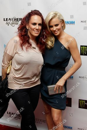 Stock Photo of Jenny McCarthy, JoJo McCarthy Jenny McCarthy, right, and sister JoJo McCarthy arrive for the annual Leather and Laces during Super Bowl XLVI festivities, in Indianapolis. The New England Patriots are scheduled to face the New York Giants in NFL football's Super Bowl on Feb. 5