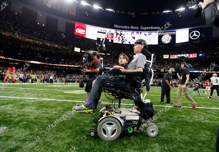 Steve Gleason Former New Orleans Saints Steve Gleason rides onto the field for the coin toss with his son before an NFL football game against the Atlanta Falcons in New Orleans