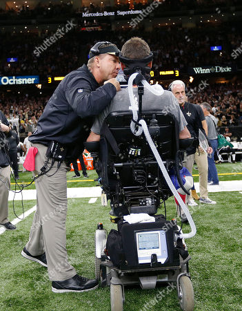 Steve Gleason, Sean Payton New Orleans Saints head coach Sean Payton Former player Steve Gleason as he rides off the field for the coin toss with his son before an NFL football game against the Atlanta Falcons in New Orleans
