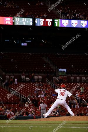 Stock Image of Jerome Williams St. Louis Cardinals relief pitcher Jerome Williams throws during the ninth inning of a baseball game against the Cincinnati Reds, in St. Louis