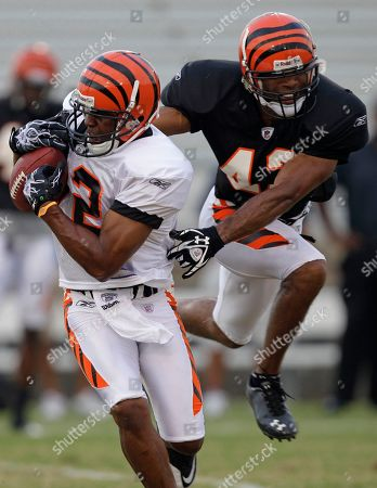 Quan Cosby, Chris Crocker Cincinnati Bengals wide receiver Quan Cosby (12) catches a pass against safety Chris Crocker (42) during practice at NFL football training camp, in Georgetown, Ky
