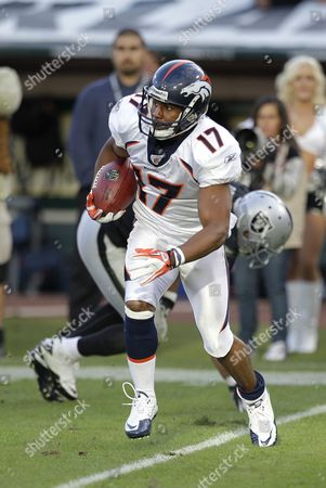 Quan Cosby Denver Broncos wide receiver Quan Cosby (17) against the Oakland Raiders in an NFL football game in Oakland, Calif