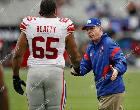 Tom Coughlin, WIll Beatty New York Giants head coach Tom Coughlin greets New York Giants offensive tackle Will Beatty (65) prior to an NFL football game against the Arizona Cardinals, in Glendale, Ariz