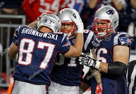 Dan Gronkowski, Aaron Hernandez, Sebastian Vollmer New England Patriots tight end Aaron Hernandez, center, celebrates his touchdown with teammates tight end Dan Gronkowski offensive tackle Sebastian Vollmer in the fourth quarter of an NFL football game against the New York Giants in Foxborough, Mass., . The Giants won 24-20