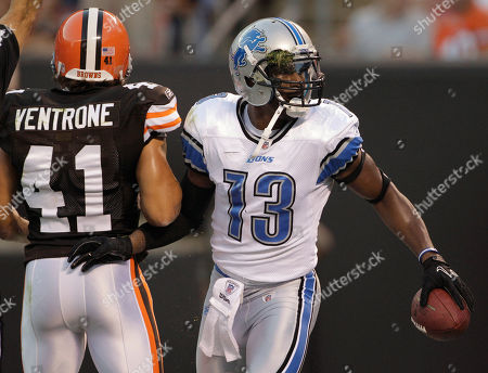 Nate Burleson, Raymond Ventrone Detroit Lions wide receiver Nate Burleson (13) pushes aside Cleveland Browns cornerback Raymond Ventrone as he celebrates his first-quarter touchdown reception in a preseason NFL football game, in Cleveland