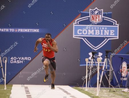 Stock Image of Mark Ingram West Virginia running back Noel Devine runs the 40-yard dash during the NFL football scouting combine in Indianapolis