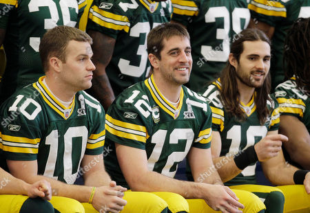 Matt Flynn, Aaron Rodgers, Brett Swain Green Bay Packers' Matt Flynn (10), Aaron Rodgers (12), and Brett Swain, right, wait with teammates to take their team photo, in Dallas. Green Bay will face the Pittsburgh Steelers in the NFL football Super Bowl XLV Sunday