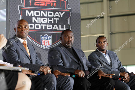 Isaac Bruce, Rodney Hampton, Amani Toomer Former NFL football players Isaac Bruce, right, Rodney Hampton, center, and Amani Toomer, left, respond to questions during an interview, in East Rutherford, N.J