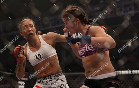Stephanie Webber, Germaine de Randamie Germaine de Randamie, left, fights Stephanie Webber during a Strikeforce mixed martial arts fight in San Jose Calif