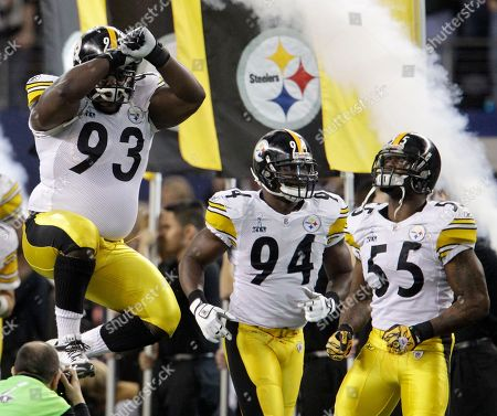 Pittsburgh Steelers' Nick Eason (93), Lawrence Timmons (94) and Stevenson Sylvester (55) react before the NFL football Super Bowl XLV game against the Green Bay Packers, in Arlington, Texas