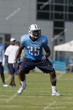 Tennessee Titans safety Myron Rolle practices during NFL football training camp, in Nashville, Tenn