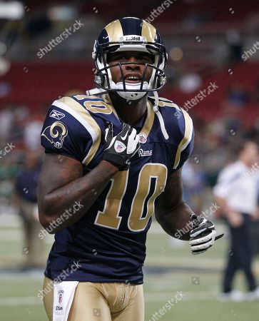 St. Louis Rams wide receiver Mike Sims-Walker warms up before the start of an NFL football game against the Tennessee Titans, in St. Louis