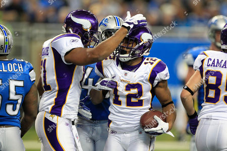 Percy Harvin Minnesota Vikings wide receiver Percy Harvin (12) is congratulated by tight end Visanthe Shiancoe after scoring a touchdown during the second quarter of an NFL football game against the Detroit Lions in Detroit, on