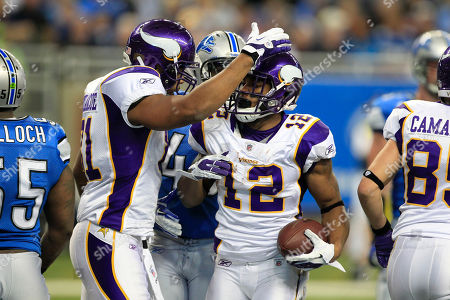 Percy Harvin Minnesota Vikings wide receiver Percy Harvin (12) is congratulated by tight end Visanthe Shiancoe after scoring a touchdown during the second quarter of an NFL football game against the Detroit Lions in Detroit