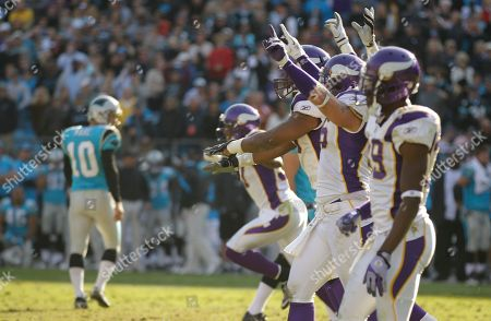 Olindo Mare Minnesota Vikings players celebrate as Carolina Panthers' Olindo Mare (10) walks off the field after missing a field goal in the closing minute of the fourth quarter of Vikings' 24-21 win in an NFL football game in Charlotte, N.C