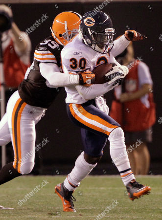 DeAngelo Smith, D.J. Moore Chicago Bears cornerback D.J. Moore (30) is tackled by Cleveland Browns cornerback DeAngelo Smith (39) in their preseason NFL football game, in Cleveland