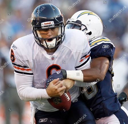 Jay Cutler Donald Strickland Chicago Bears quarterback Jay Cutler gets sacked by San Diego Chargers' Donald Strickland during the first half of an NFL preseason football game, in San Diego