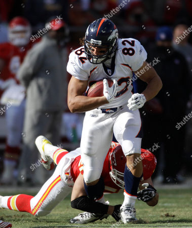 Dan Gronkowski Denver Broncos tight end Dan Gronkowski (82) gets past Kansas City Chiefs linebacker Mike Vrabel (50) during the first half of an NFL football game against the Kansas City Chiefs at Arrowhead Stadium in Kansas City, Mo