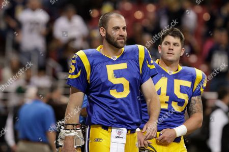 St. Louis Rams punter Donnie Jones (5) and St. Louis Rams Chris Massey (45) before the start of an NFL football game between the Carolina Panthers and St. Louis Rams, in St. Louis