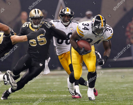 Rashard Mendenhall, Danny Clark Pittsburgh Steelers running back Rashard Mendenhall (34) rushes past New Orleans Saints linebacker Danny Clark (55) during an NFL football game at the Louisiana Superdome in New Orleans