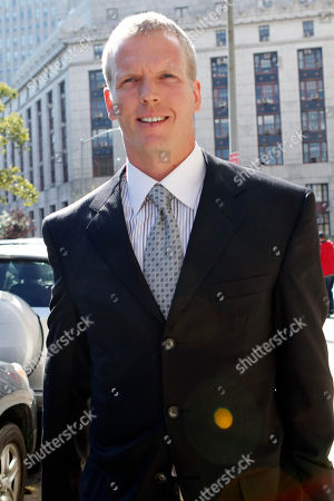 Former NFL quarterback Chris Simms leaves Manhattan Criminal court, in New York. Simms pleaded not guilty Thursday to charges he drove his car while high on marijuana, and an officer testified that Simms told him at a checkpoint that he had been smoking