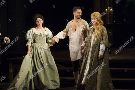 Ophelia Lovibond (Elizabeth Barry), Dominic Cooper (Earl of Rochester) and Alice Bailey Johnson (Elizabeth Malet) during the curtain call