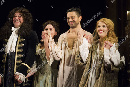 Jasper Britton (King Charles II), Ophelia Lovibond (Elizabeth Barry), Dominic Cooper (Earl of Rochester) and Alice Bailey Johnson (Elizabeth Malet) during the curtain call