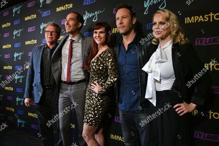 The cast of Impastor: Sara Rue, Mircea Monroe, Mike Kosinski, David Rasche