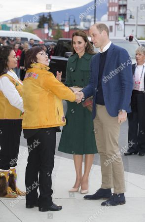Stock Picture of Prince William and Catherine Duchess of Cambridge are greeted by the Chief of Kwanlin Dun First Nation, Ms Doris Bill and the Chief of the Ta'an Kwach'an, Ms Kristina Kane in Whitehorse, Yukon