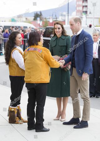 Stock Photo of Prince William and Catherine Duchess of Cambridge are greeted by the Chief of Kwanlin Dun First Nation, Ms Doris Bill and the Chief of the Ta'an Kwach'an, Ms Kristina Kane in Whitehorse, Yukon