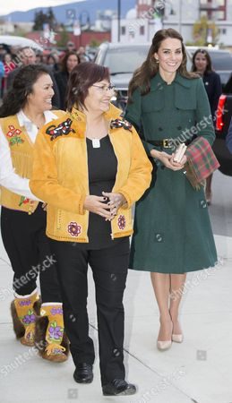 Stock Image of Catherine Duchess of Cambridge is greeted by the Chief of Kwanlin Dun First Nation, Ms Doris Bill and the Chief of the Ta'an Kwach'an, Ms Kristina Kane in Whitehorse, Yukon