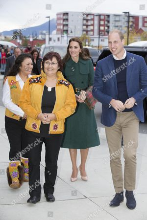 Prince William and Catherine Duchess of Cambridge are greeted by the Chief of Kwanlin Dun First Nation, Ms Doris Bill and the Chief of the Ta'an Kwach'an, Ms Kristina Kane in Whitehorse, Yukon