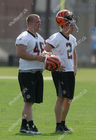 Jake Richardson, Mike Windt Cincinnati Bengals rookie punter Jake Richardson (2) and long snapper Mike Windt (48) in action during the NFL football team's rookie minicamp, in Cincinnati