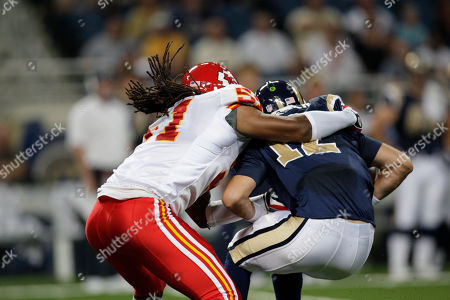 Kyle Boller, Corey Mays St. Louis Rams quarterback Kyle Boller, right, is sacked by Kansas City Chiefs linebacker Corey Mays during a preseason NFL football game, in St. Louis. The Rams won 17-9
