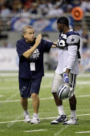 Jamar Wall, Dave Campo Dallas Cowboys secondary coach Dave Campo, left, and cornerback Jamar Wall (30) at Cowboys training camp, in San Antonio