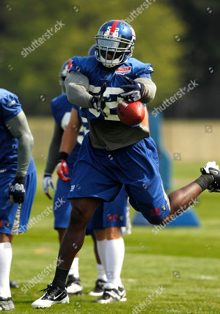 Stock Photo of Clint Sintim New York Giants linebacker Clint Sintim (52) during NFL football training camp in Albany, N.Y., on