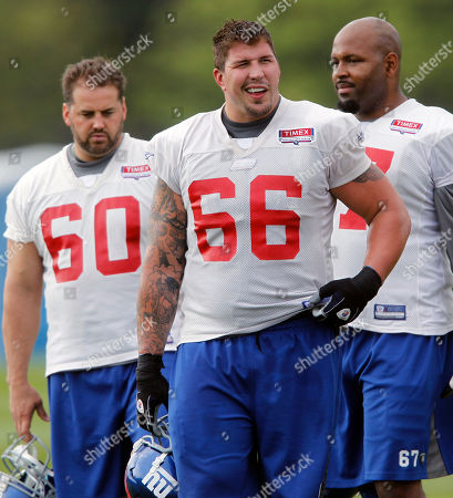 Shaun O Hara, David Diehl, Kareem McKenzie New York Giants offensive linemen Shaun O'Hara (60), David Diehl (66) and Kareem McKenzie during NFL football training camp in Albany, N.Y., on