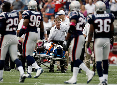 Jared Gaither As New England Patriots players look, Baltimore Ravens offensive tackle Jared Gaither is carted off the field after being injured during the first half of an NFL football game, in Foxborough, Mass