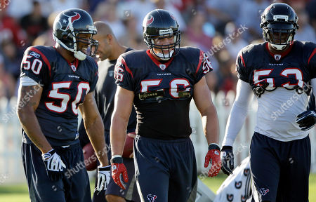 Houston Texans linebackers Brian Cushing (56), Darnell Bing (50) and Danny Clark (53) during a NFL football training camp practice in Houston