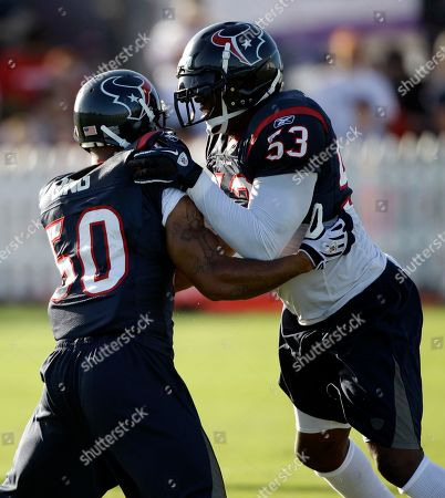 Houston Texans linebacker Danny Clark (53) and Darnell Bing (50) during a NFL football training camp practice in Houston