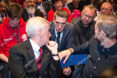 Stock Photo of John McDonnell, Seb Corbyn and Tom Corbyn