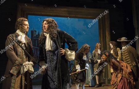 Dominic Cooper as The Earl of Rochester, Jasper Britton as King Charles II